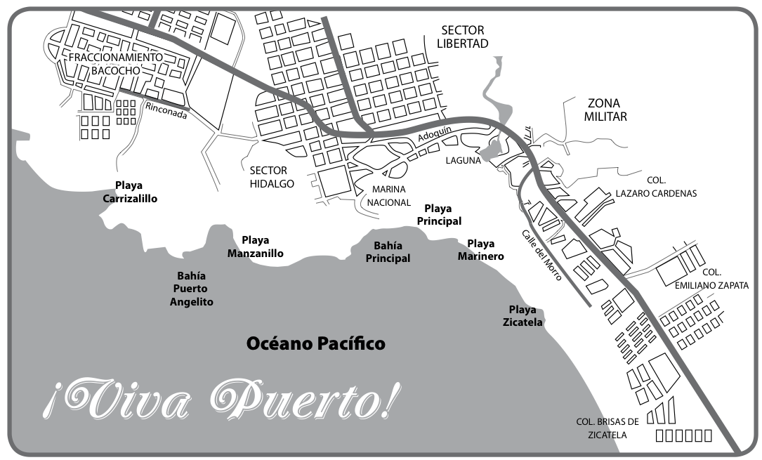 Map Puerto Escondido: Beaches